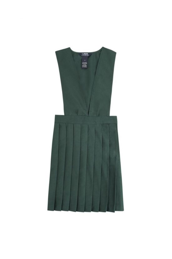 V-Neck Pleated Pinafore Green
